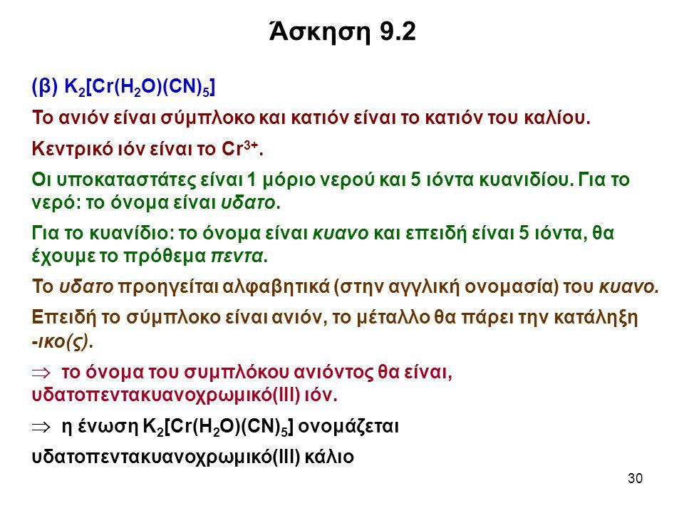 Άσκηση 9.2 (β) K2[Cr(H2O)(CN)5]